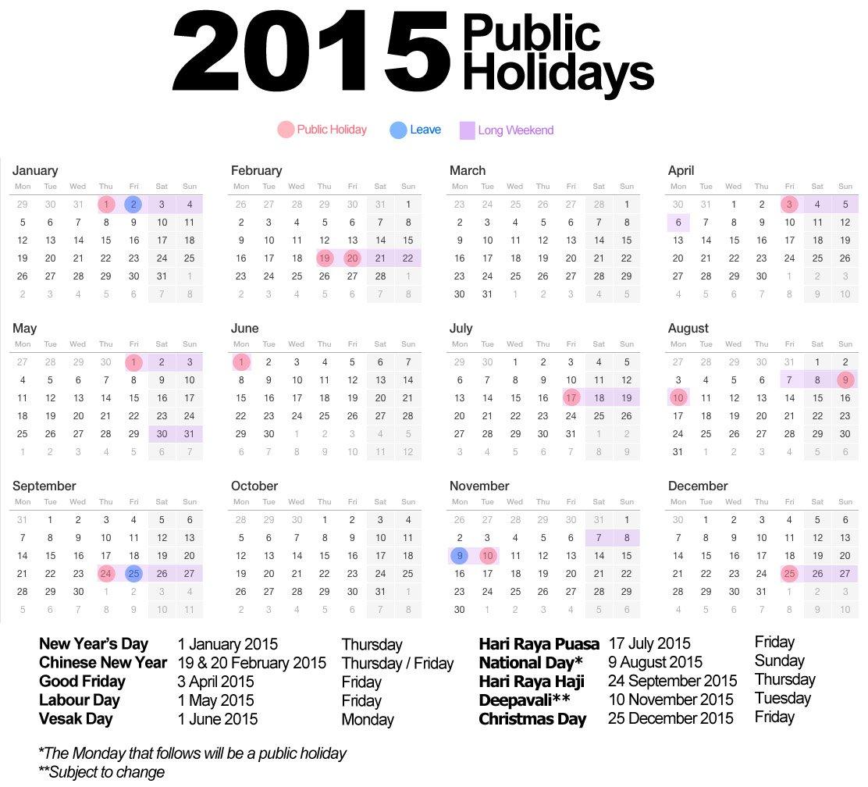 2015 Public Holidays