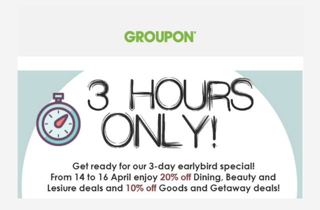 Groupon: Flash Sale 3 Hours Only! 10-20% Off ALL deals with