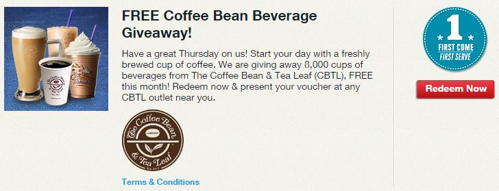 Free Coffeebean giveaway