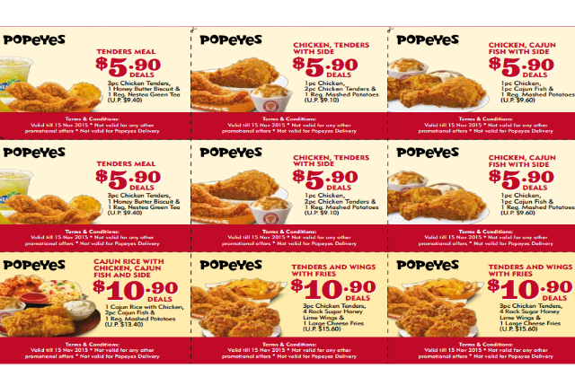 graphic relating to Popeyes Coupons Printable known as Popeyes: Dine-within just Discount codes Bargains (1 October - 15 Nov 2015