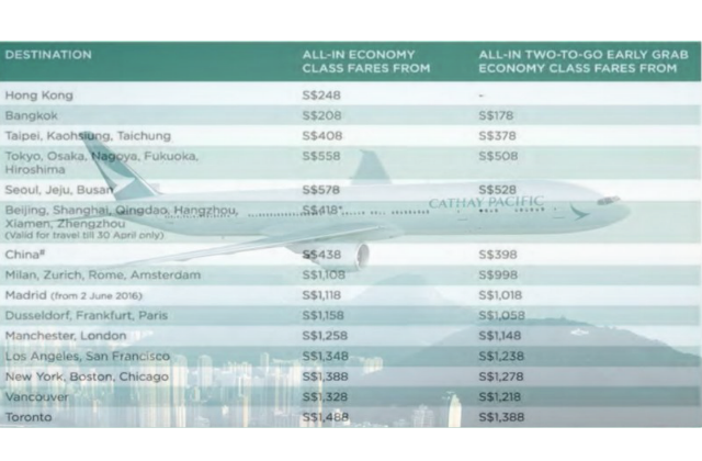 Cathay Pacific Exclusive Economy Class Airfares Fr S 178