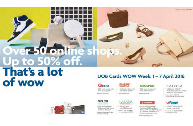 UOB: WOW Week - Up to 50% Off over 50 Online Shops (1 - 7