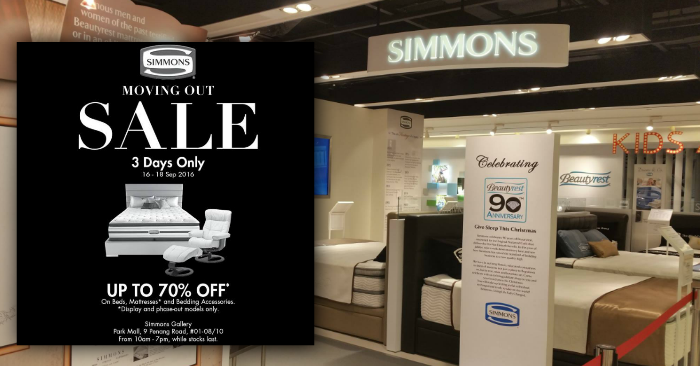 Simmons to move out from Park Mall Runs a 3 day sale to