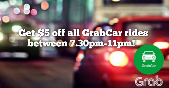 Grab releases a $5 off Promo Code for GrabCar rides from 7 30pm-11pm