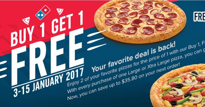 Buy one large get one free at Domino's Free Cinna Stix and a 2-Liter Coke with a Large Pizza Purchase 50% off Small Gluten Free Crust Pizza with up to 3 Toppings using a Domino's coupon.