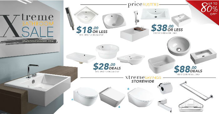 Hemsley s xtreme bathroom sale up to 80 off 7 24 march for Bathroom stuff for sale