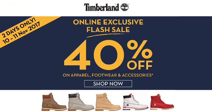 e46cdf770737f Timberland runs 11.11 Flash Sale offering 40% OFF site-wide at their online  store on 10   11 Nov 17