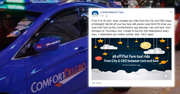 Cheaper taxi ride after midnight as ComfortDelGro Taxi