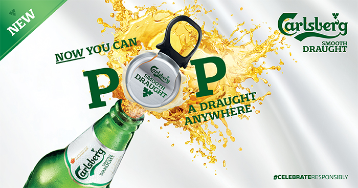 Carlsberg Smooth Draught Pint Now Comes With Fun Easy To Open POP Cap Pop A Anywhere Anytime