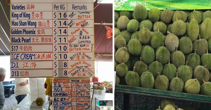 Durian prices dropped for the month of July  Here's a list of 30