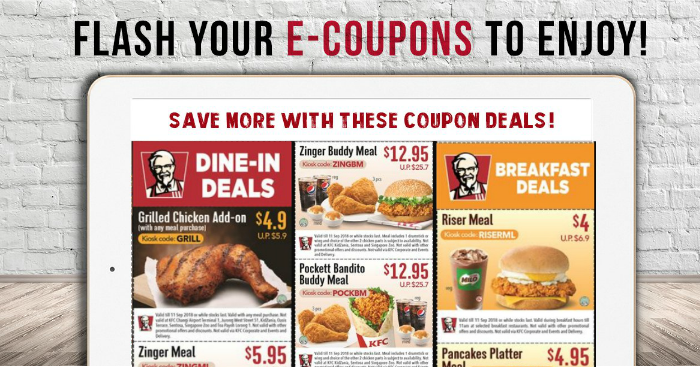 Mobile Coupons For KFC. Kentucky Fried Chicken well known as KFC first came into sight when its founder Colonel Harland Sanders started using a new invention in – the pressure cooker to cook his chickens. One year later he introduced the original recipe and to this day the list of menu continues to expand with various products.