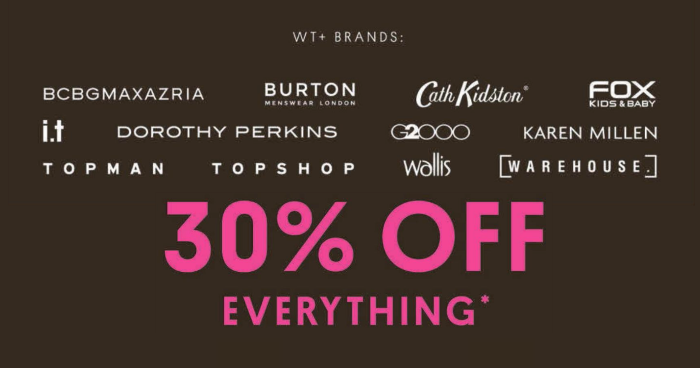 c1d153adc5b These brands under wt+ are offering 30% off EVERYTHING  for Black Friday  from 22 – 25 Nov 18