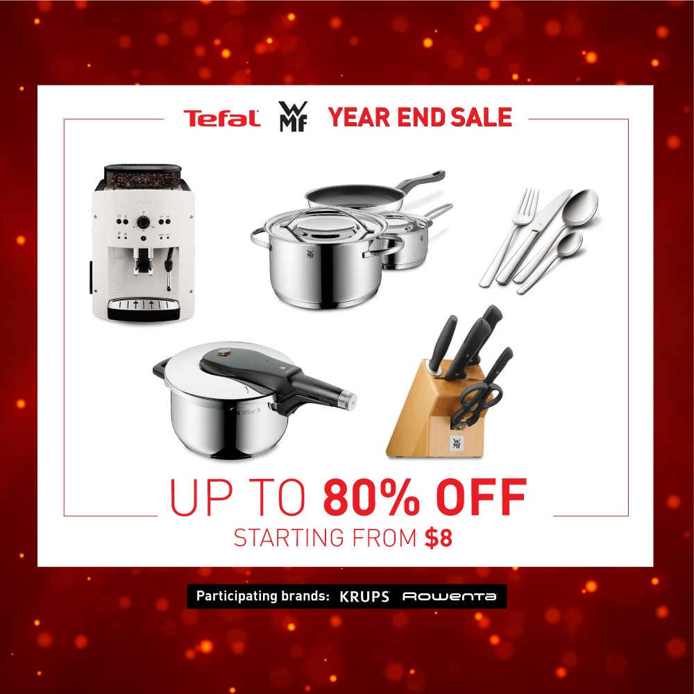 Up to 80% off TEFAL and WMF cookware and home appliances only on 1 & 2 Dec 2018