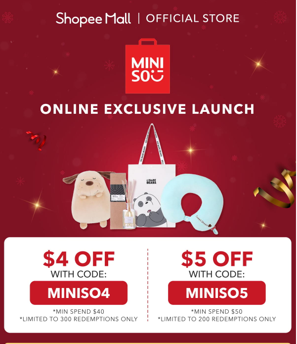 Miniso launches first online flagship store on Shopee, offers storewide discount vouchers from 24 - 27 December 2018