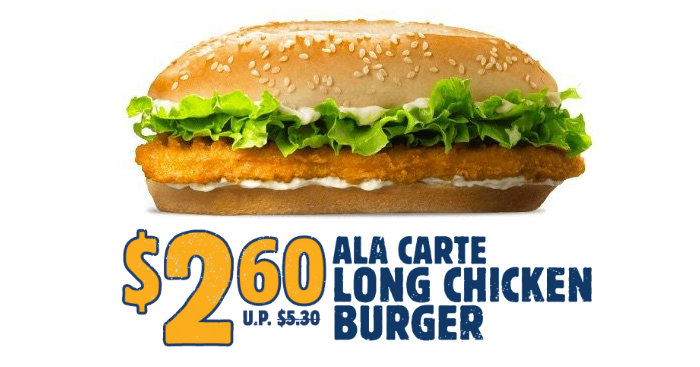 Carte Burger King Royan.Burger King Is Offering 50 Off Long Chicken Burger From 30