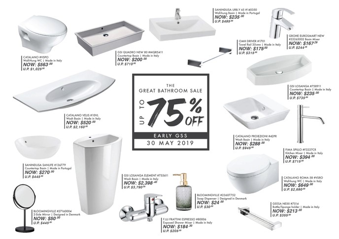 The Great Bathroom Sale is here! Up to 75%OFF   Early GSS