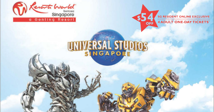Universal Studios Singapore Promo: Get $54 off 4 adult tickets if