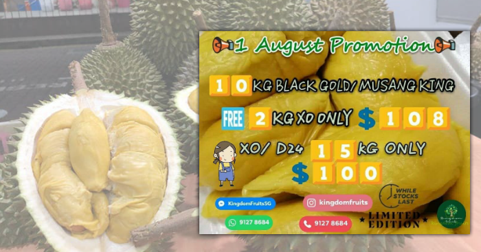 This durian stall offers Mao Shan Wang/Black Gold durians at
