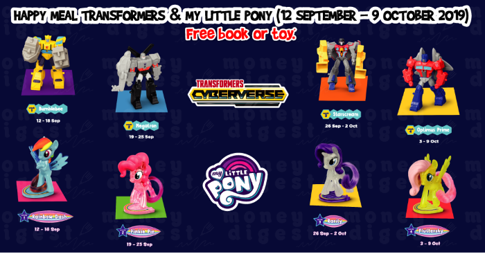 New McDonald's Happy Meal Transformers and My Little Pony