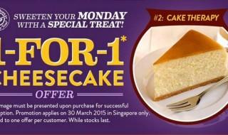 Coffee Bean Cheesecake 1-for-1 (30 Mar 2015)