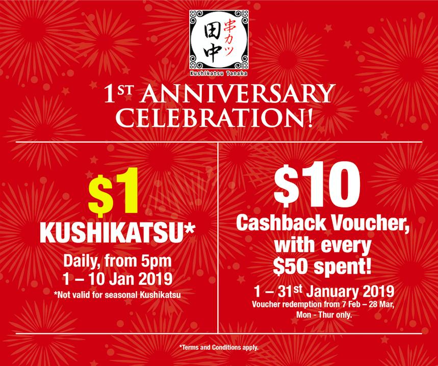 Kushikatsu Tanaka celebrates 1st anniversary with $1 Kushikatsu from 1 - 10 Jan 2019