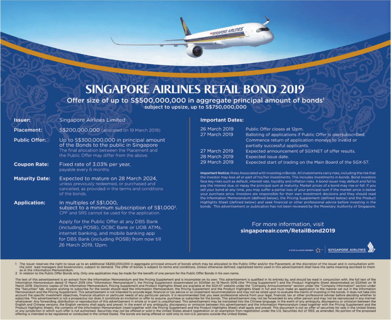 Receive a fixed interest of 3.03% per annum with Singapore Airlines's Retail Bond 2019