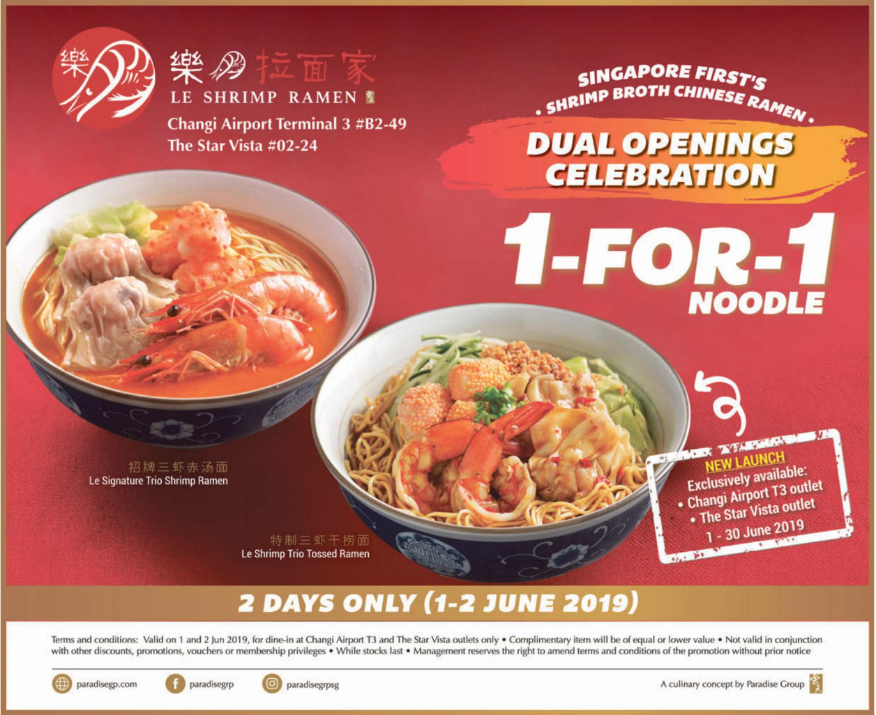 Paradise Group celebrates dual openings of Le Shrimp Ramen with 1-for-1 promotion on 1 & 2 Jun 2019