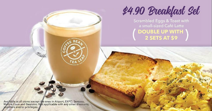 The Coffee Bean Tea Leaf S New 4 90 Breakfast Set Comes With Scrambled Eggs Toast And Coffee Moneydigest Sg