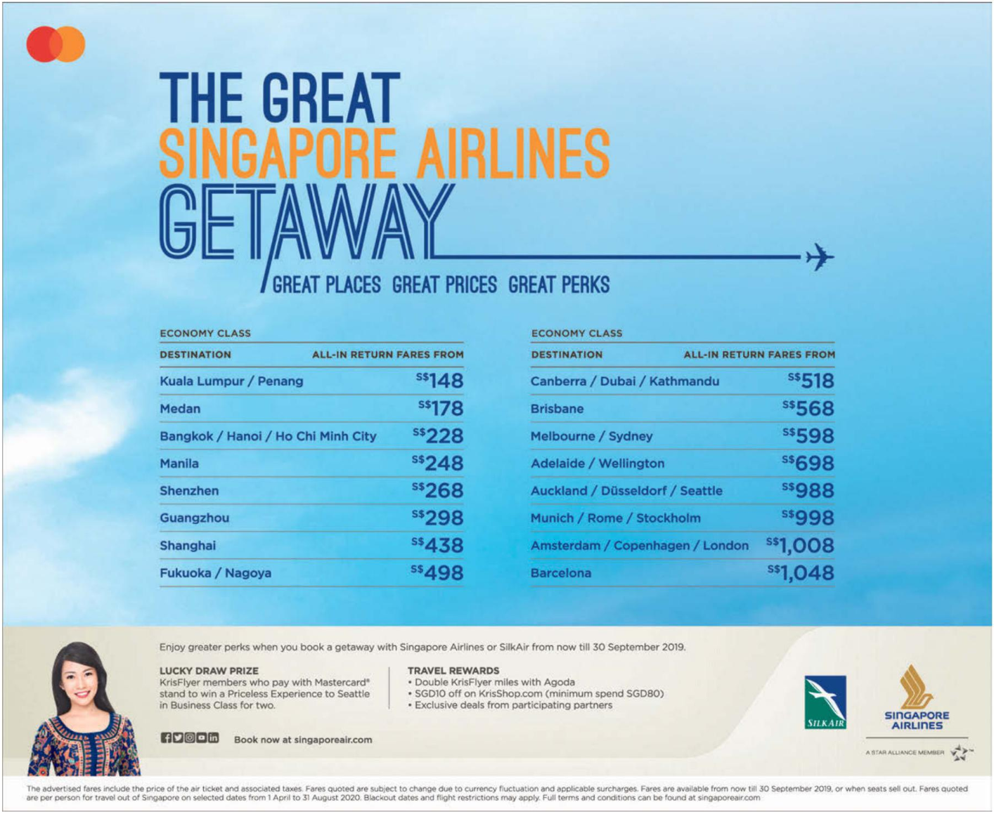 Singapore Airlines launched 'Great Getaway Sale' offering discounted sale fares to over 70 destinations. Book from now till 30 Sep 19