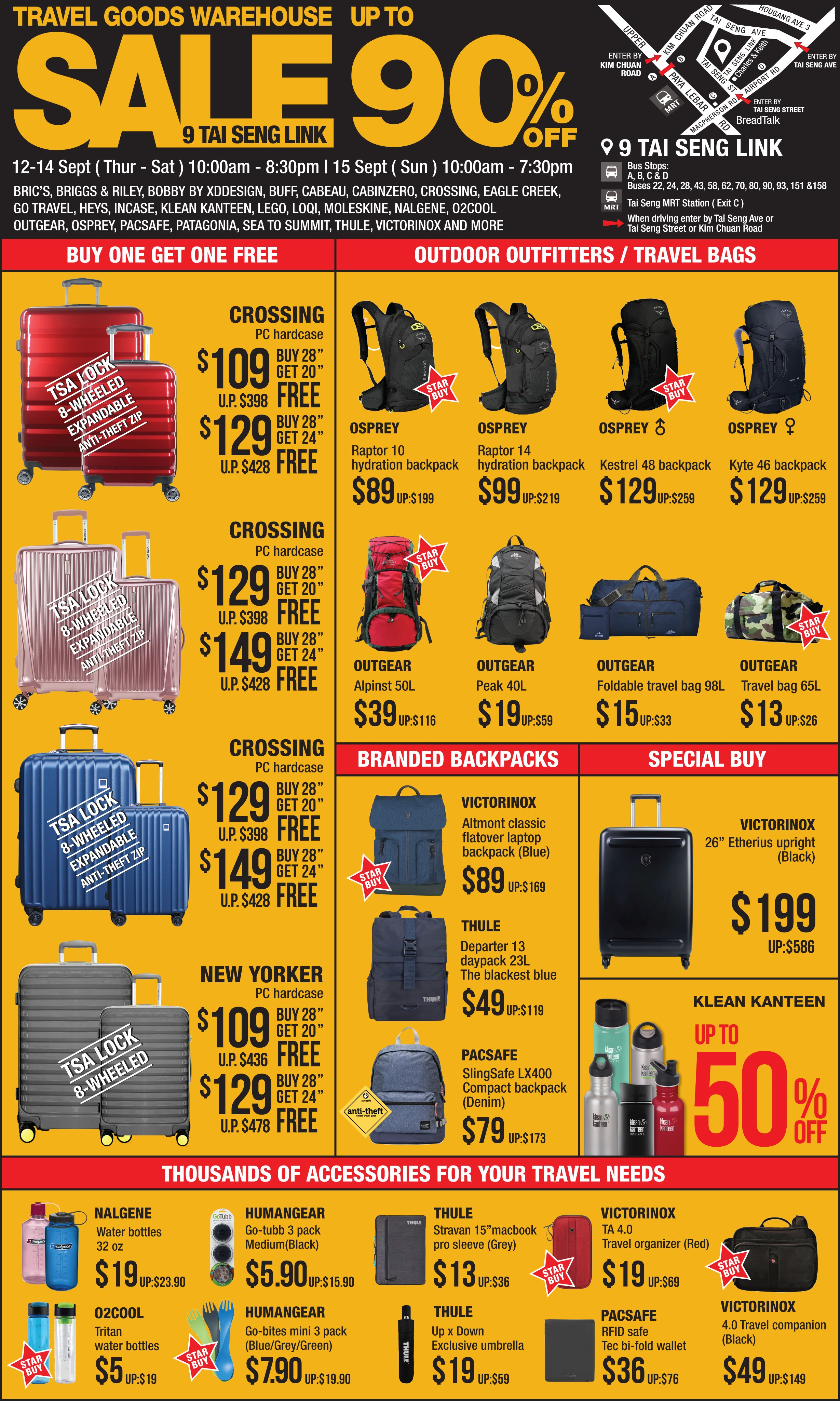 The Planet Traveller Warehouse Sale at Tai Seng has Buy-1-Get-1-Free Luggage and up to 90% off deals from 12 - 15 Sep 19