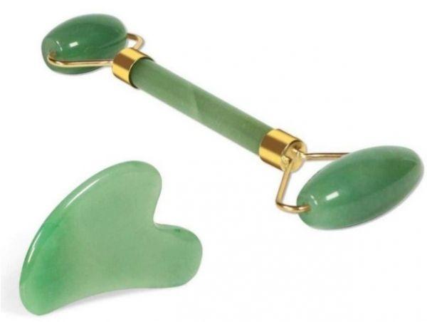 Jade roller and gua sha tool set
