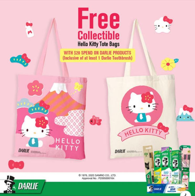 Free Hello Kitty tote bag when you spend $20 on participating Darlie products at FairPrice from now till 13 Jul 20
