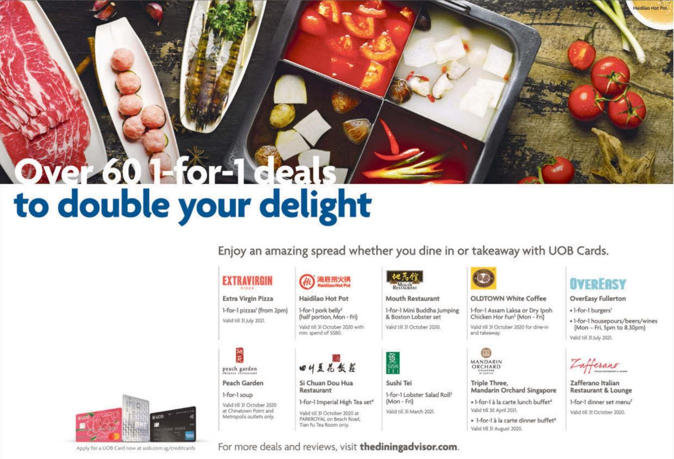 Enjoy over 60 1-for-1 dining deals with UOB Cards
