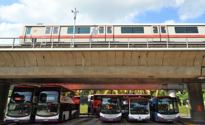 Bus and MRT train