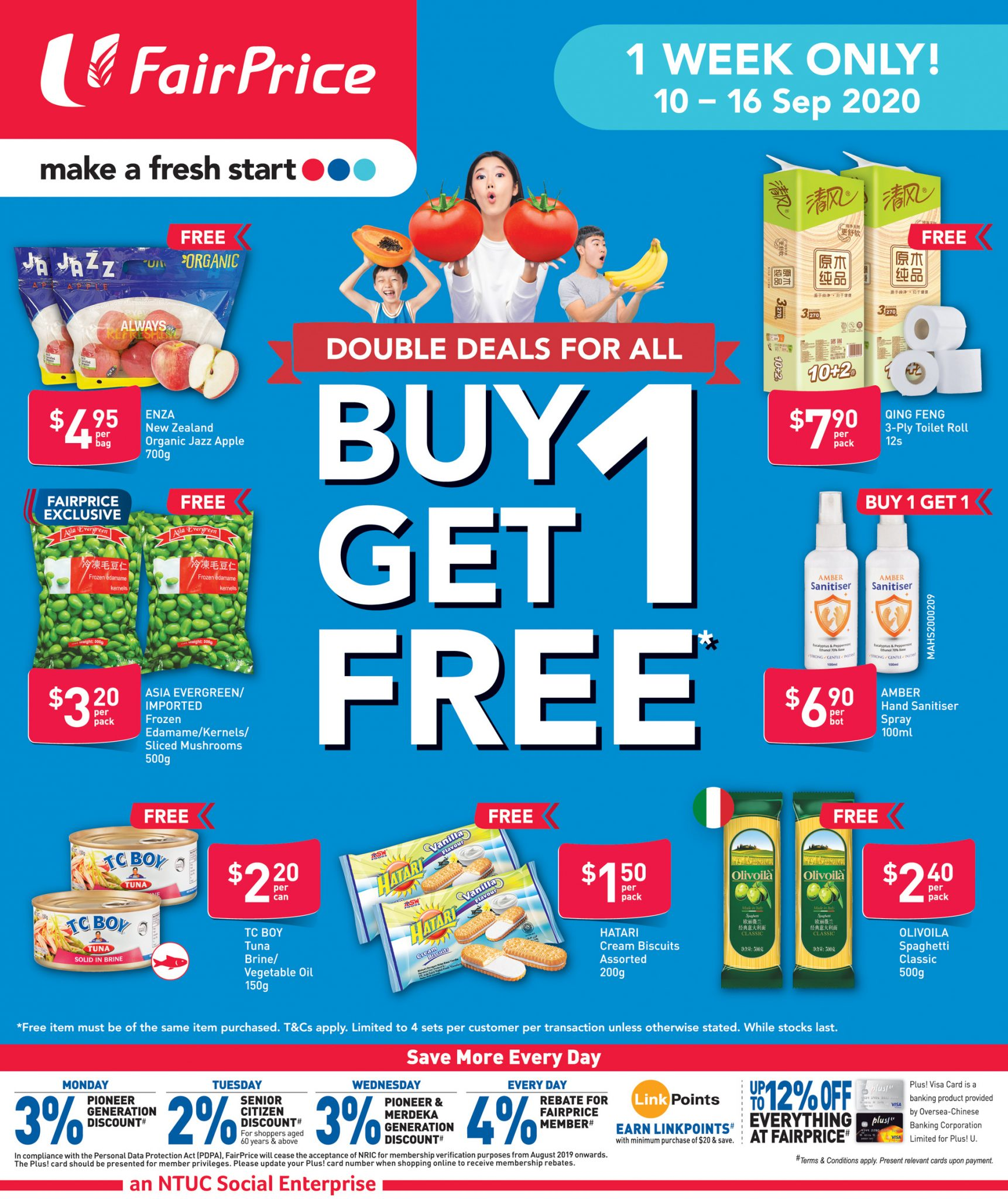 FairPrice 1-for-1 deals from now till 16 September 2020