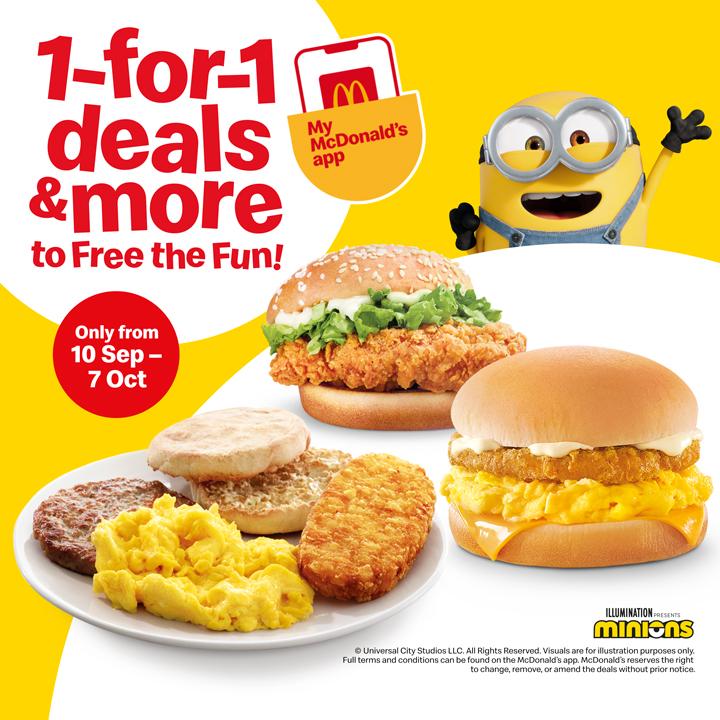 McDonald's offering 1-for-1 deals and more from 10 Sep - 7 Oct 2020