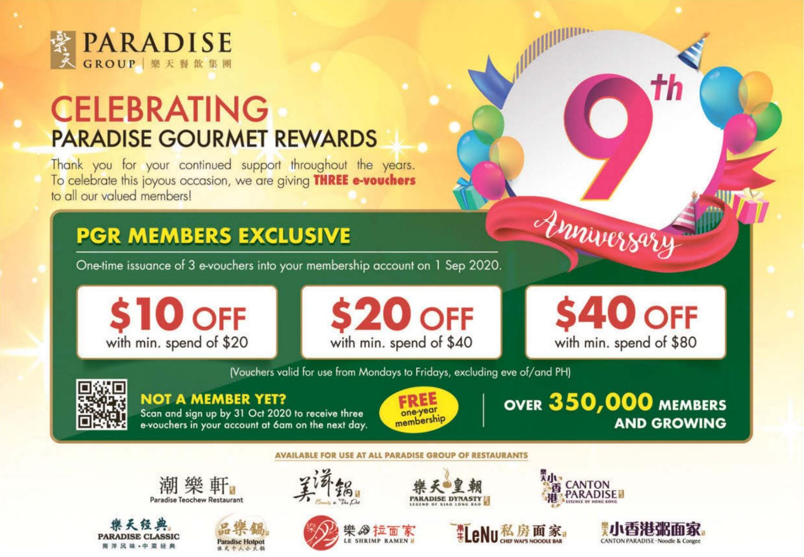 Paradise Group celebrates 9th anniversary with free $10, $20 and $40 vouchers giveaways