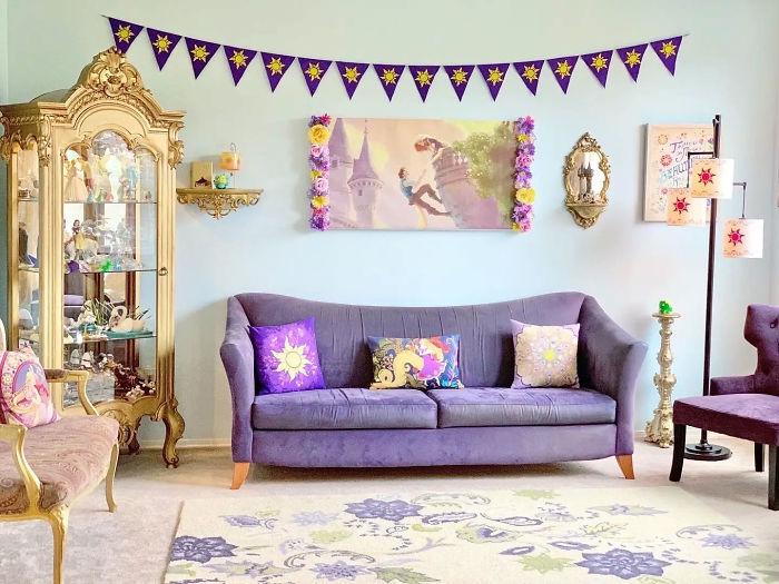 Rapunzel-themed living room