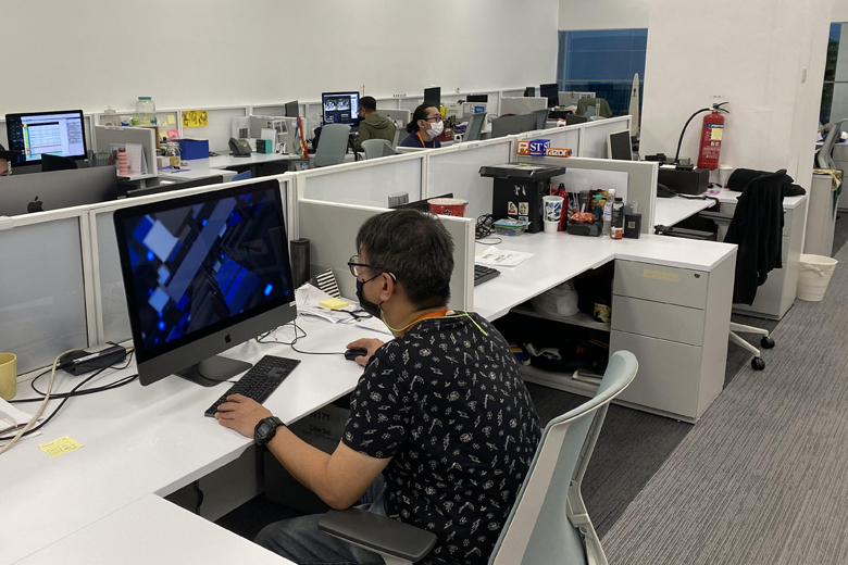 singapore office with safe distancing in place