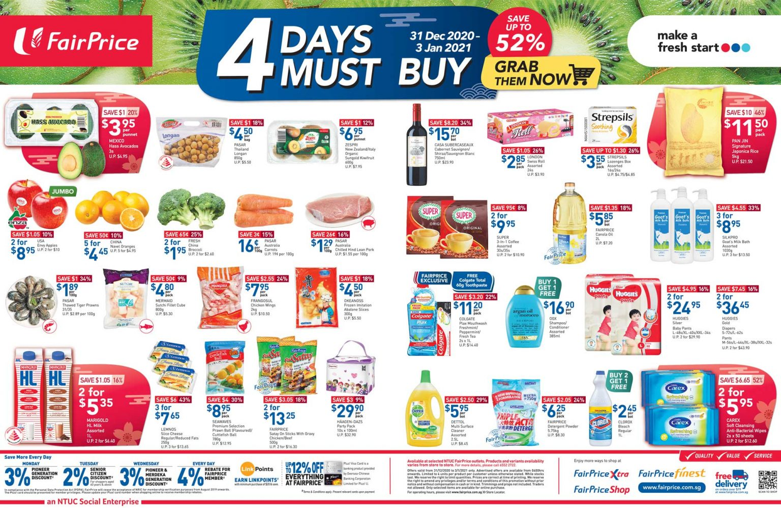 FairPrice's 4 days must-buy items from 31 Dec 2020 - 3 Jan 2021