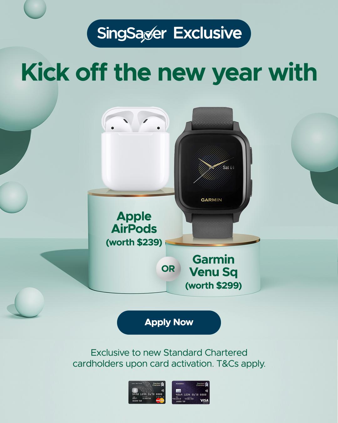 Get a free Garmin Venu SQ Watch (worth $299) or Apple AirPods (worth $239)