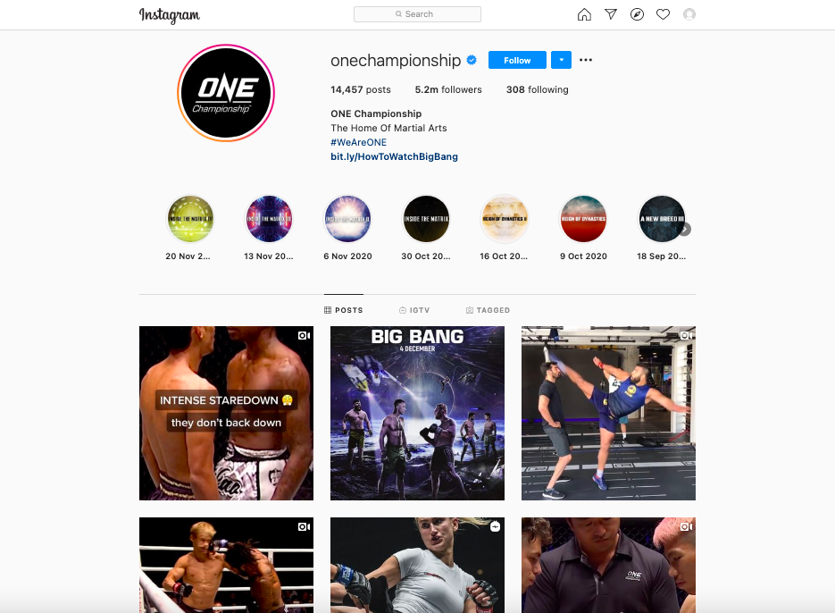 onechampionship Instagram page