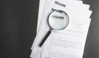 resumes on a desk