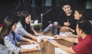 asians having an office meeting