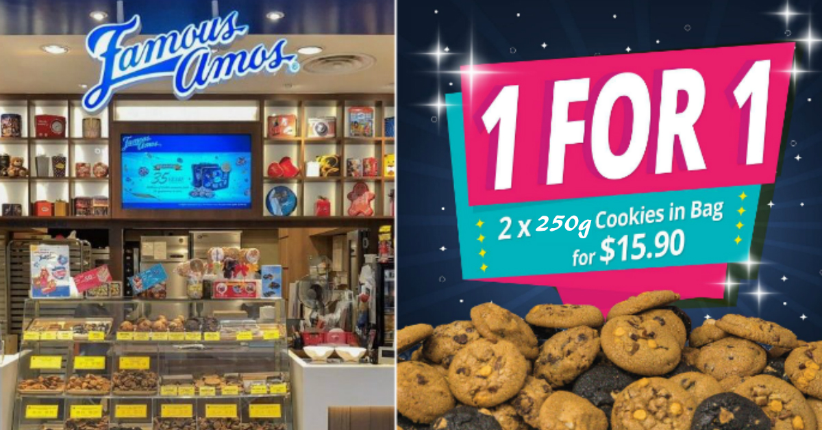 1-for-1 Famous Amos cookies at all outlets on 27 Feb 2021