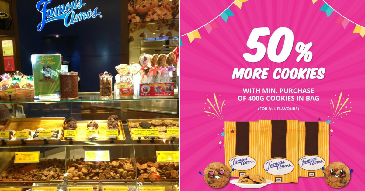 Famous Amos is giving you 50% more cookies on your purchase from 19 to 21 Feb 2021