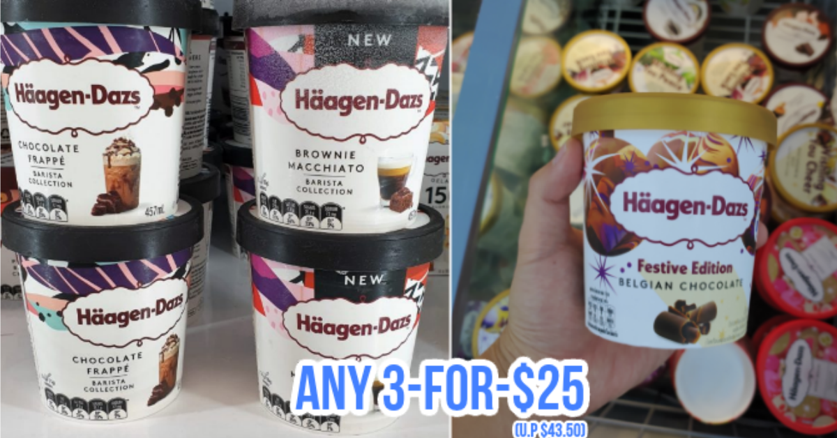 FairPrice Has A 3-for-$25 Häagen-Dazs Ice Cream Deal Till 3 Mar 21, So You Pay Only $8.33 each (U.P. $14.50)