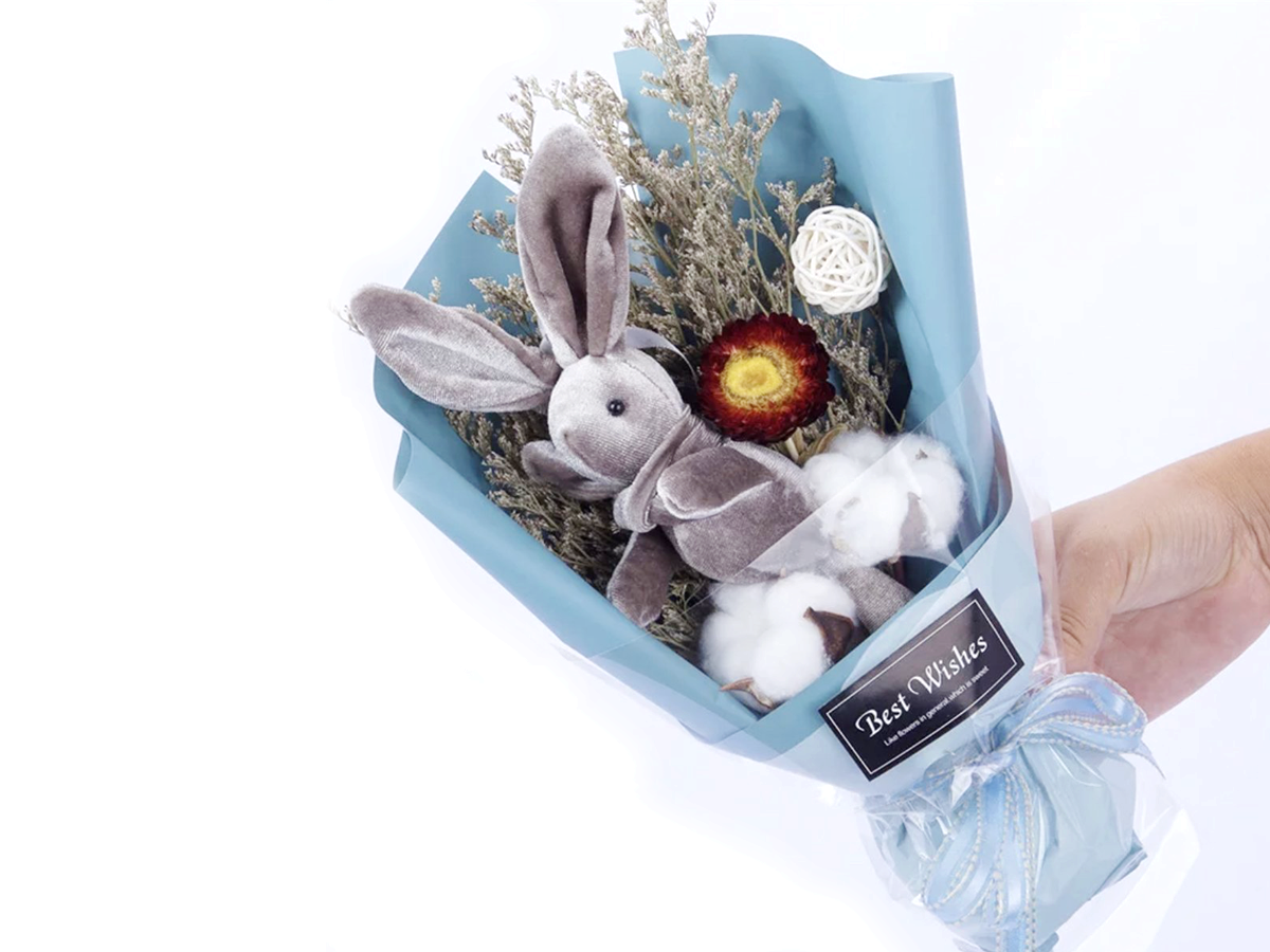 Preserved Flower Bouquet Mini Bunny Love