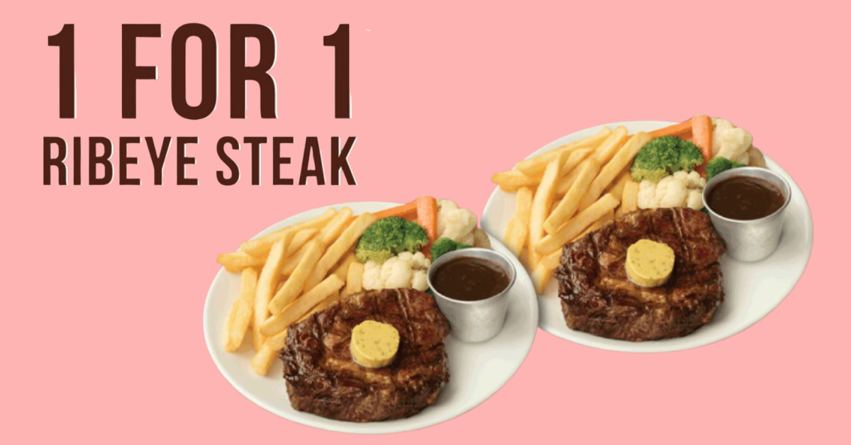 1-for-1 Ribeye Steak at all Morganfield's Singapore outlets from 1 - 14 Mar 2021