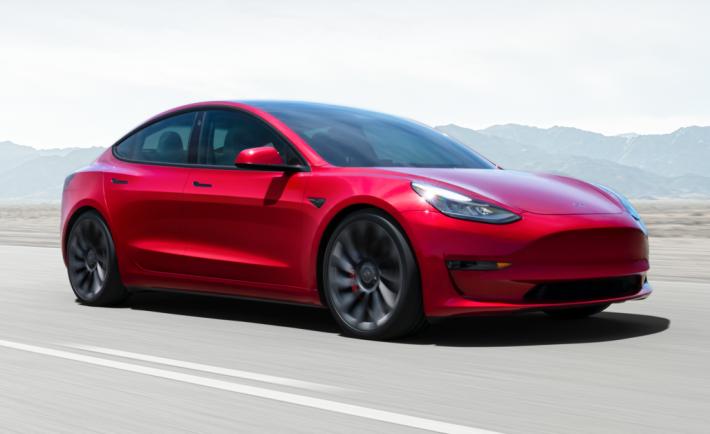 Tesla Model 3 in red